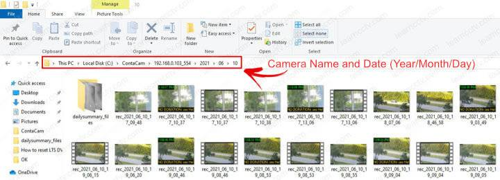 Contacam saved files folder