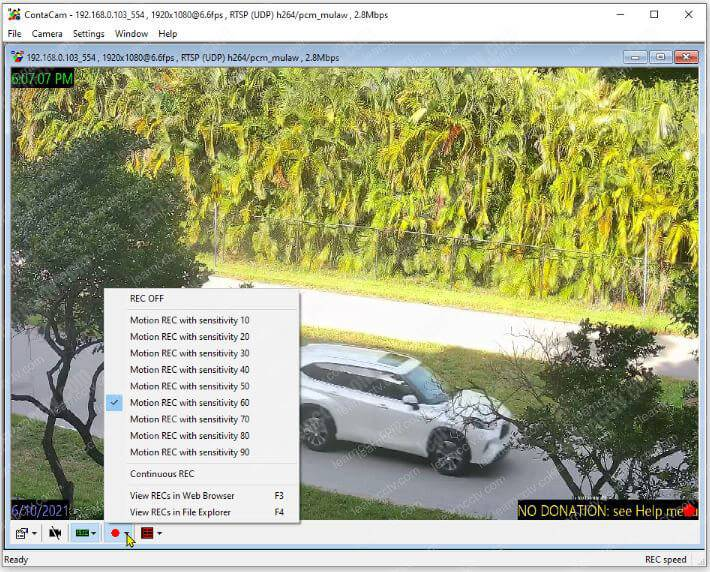 IP camera working in the Contacam Software