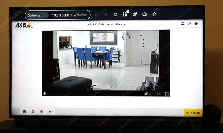 Axis camera on TV