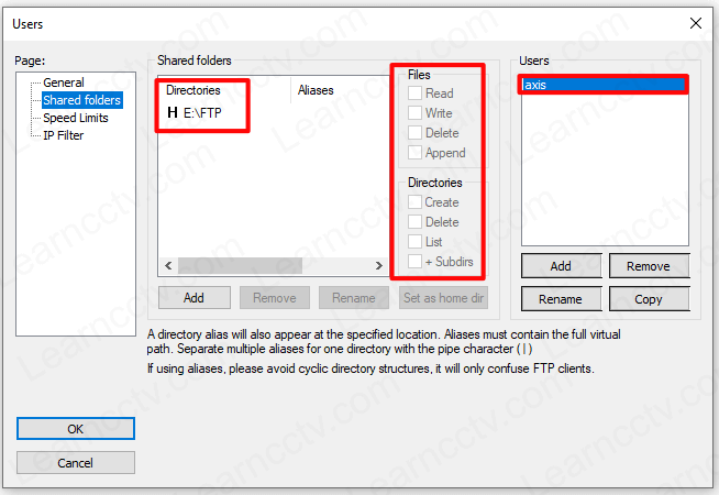 Filezilla shared folder configuration details