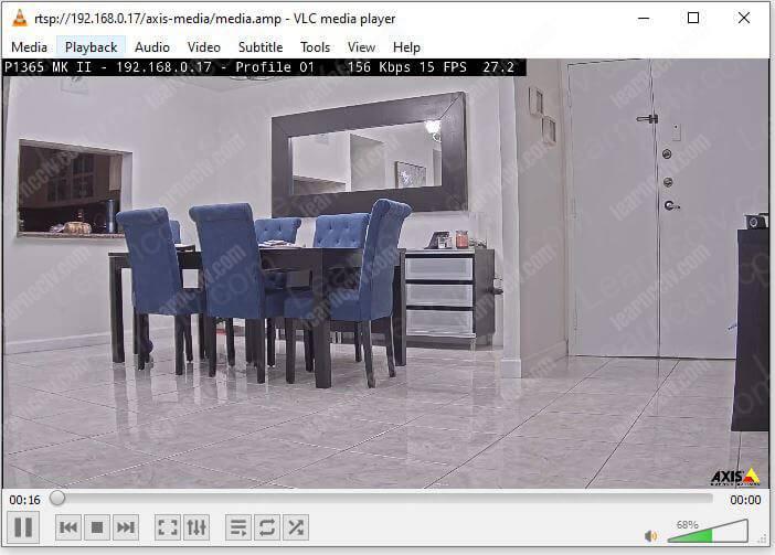 Axis P1365 MK II on VLC via RTSP