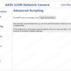 Axis camera menu