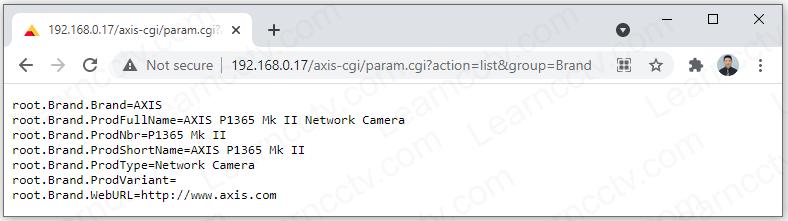 VAPIX command gets camera brand